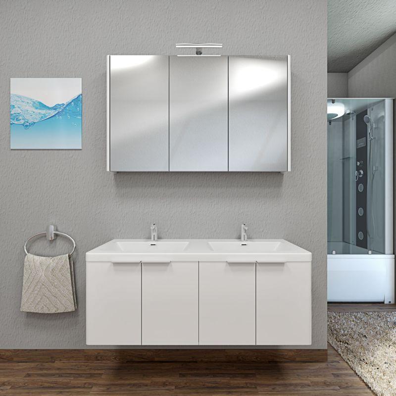 Badmöbel Set Curve 215 V1 MDF weiß, Badezimmermöbel, Waschtisch 120cm -14731- ohne Spiegelschrankbeleuchtung - TRENDBAD24 GMBH & CO. KG