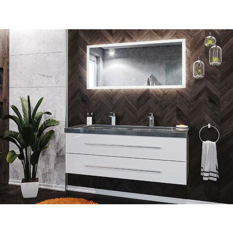 Badmöbel-Set Damo 130 2-tlg. inkl. Granit G654 2 Hahnlöcher weiß hochglanz
