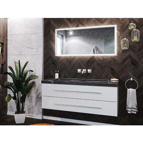 Badmöbel-Set Damo 130 2-tlg. inkl. Granit India Black ohne Hahnloch weiß
