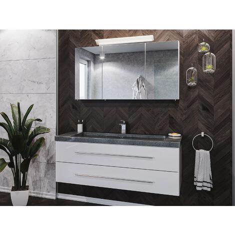 Badmöbel-Set Damo 130 Spiegelschrank & Granit G654 1 Hahnloch weiß hgl