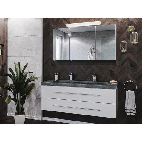 Badmöbel-Set Damo 130 Spiegelschrank & Granit G654 2 Hahnlöcher weiß hgl