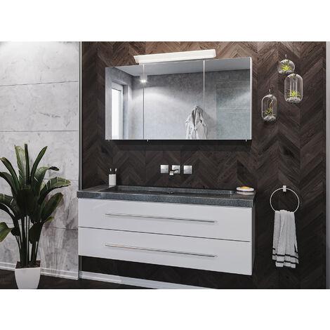 Badmöbel-Set Damo 130 Spiegelschrank & Granit G654 o. Hahnloch weiß hgl