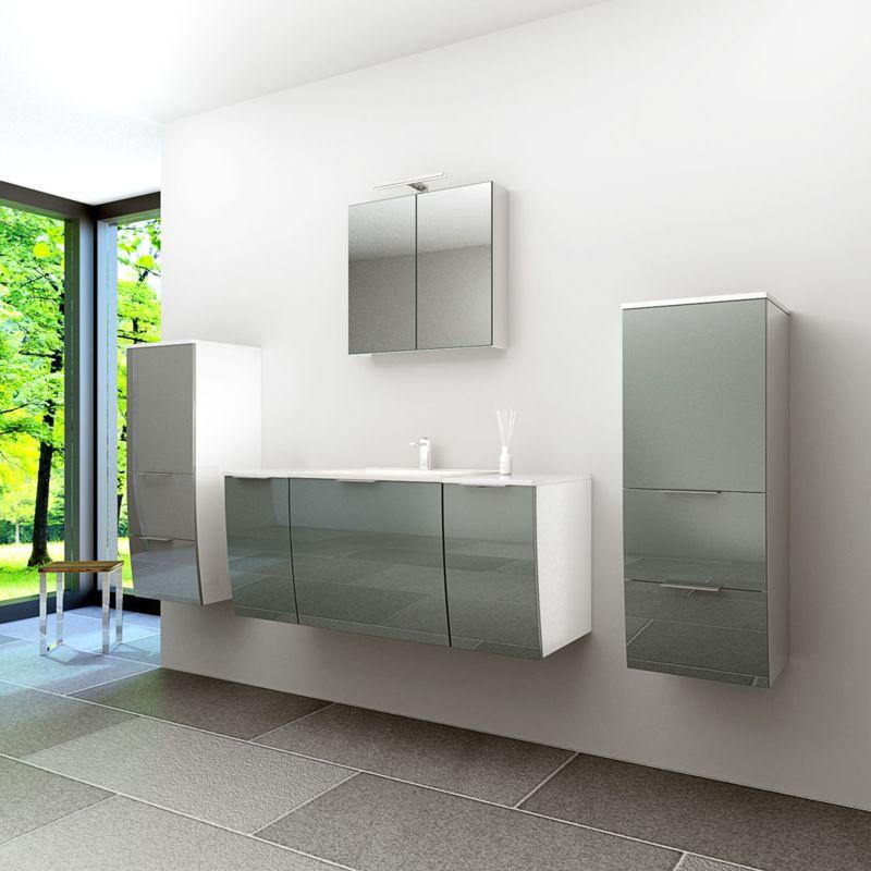 Badmöbel Set Gently 1 V3 Weiß/Grau Badzimmermöbel Waschtisch Badspiegel 120 cm -20243- mit 1x 5W LED Strahler und 1x Energiebox - TRENDBAD24 GMBH &