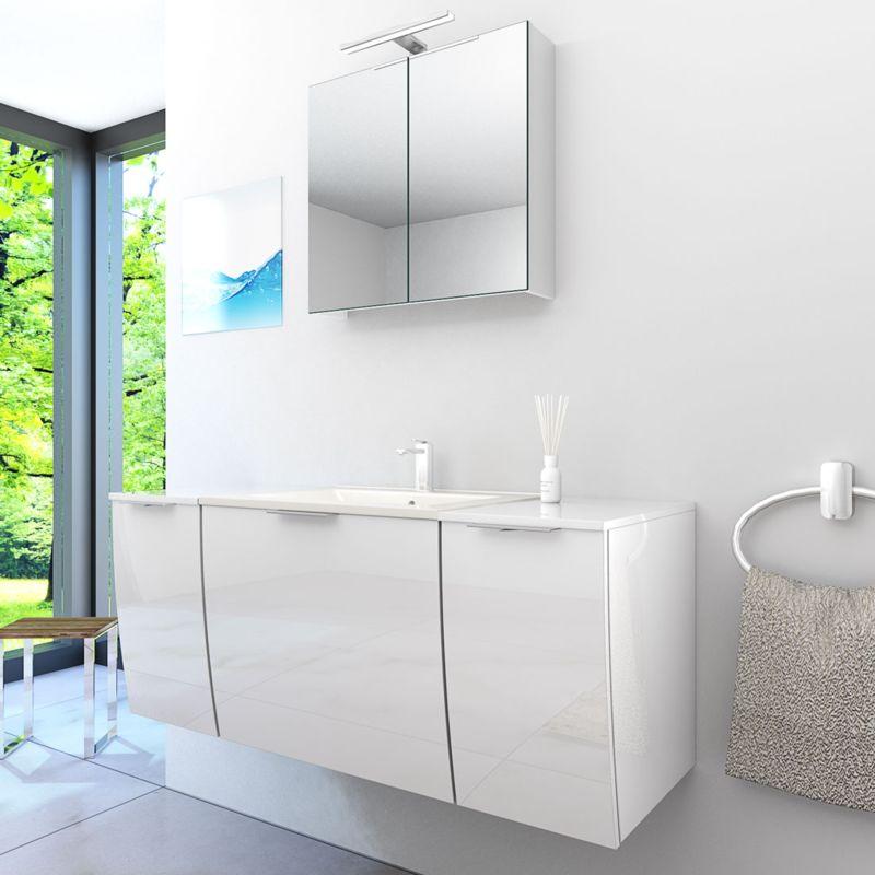 Badmöbel Set Gently 1 V1 Weiß Badzimmermöbel Waschtisch Badspiegel 120 cm -19965-001- ohne Spiegelschrankbeleuchtung - TRENDBAD24 GMBH & CO. KG