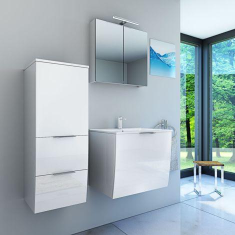 Badmöbel Set Gently 1 V2-L Hochglanz weiß, Badezimmermöbel, Waschtisch 60cm