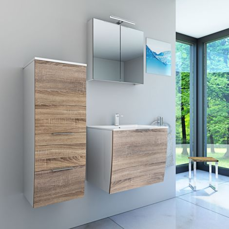 Badmöbel Set Gently 1 V2-L weiß / Eiche hell, Badezimmermöbel, Waschtisch 60cm