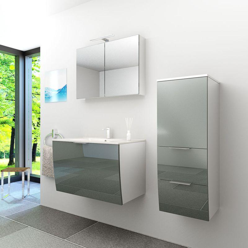 Badmöbel Set Gently 1 V2 Weiß/Grau Badzimmermöbel Waschtisch Badspiegel 80 cm -20237- mit 1x 5W LED Strahler - TRENDBAD24 GMBH & CO. KG