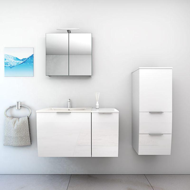 Badmöbel Set Gently 1 V2-R Weiß Badzimmermöbel Waschtisch Badspiegel 90 cm -15371- mit 1x 5W LED Strahler und 1x Energiebox - TRENDBAD24 GMBH & CO. KG