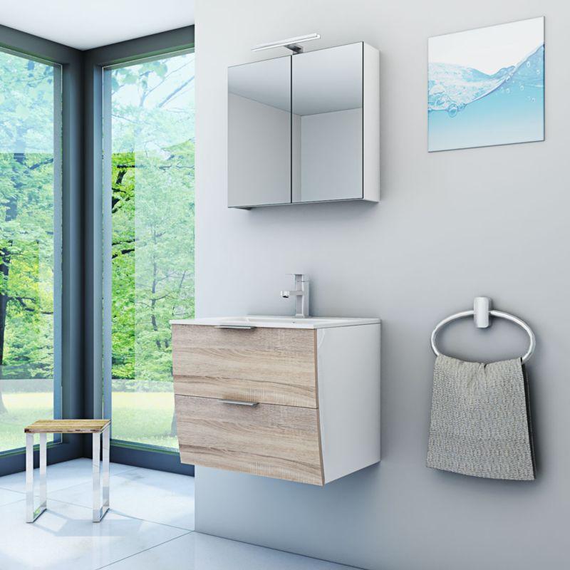 Badmöbel Set Gently 2 V1 Weiß/Eiche Badzimmermöbel Waschtisch Badspiegel 60 cm -16552- ohne Spiegelschrankbeleuchtung - TRENDBAD24 GMBH & CO. KG