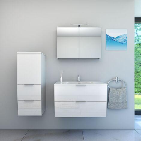 Badmöbel Set Gently 2 V2-L Hochglanz weiß, Badezimmermöbel, Waschtisch 80cm