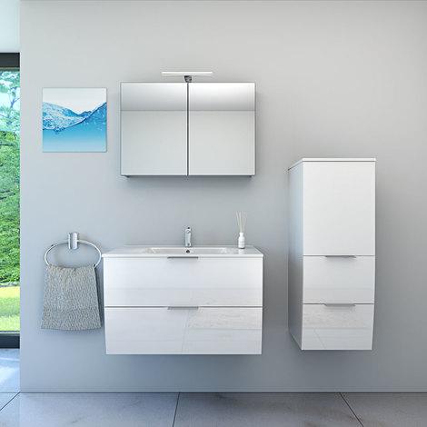 Badmöbel Set Gently 2 V2-R Hochglanz weiß, Badezimmermöbel, Waschtisch 80cm