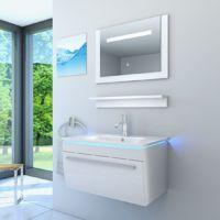Badmöbel Set Gently 3 V1 Hochglanz weiß, Badezimmermöbel, Waschtisch 70cm