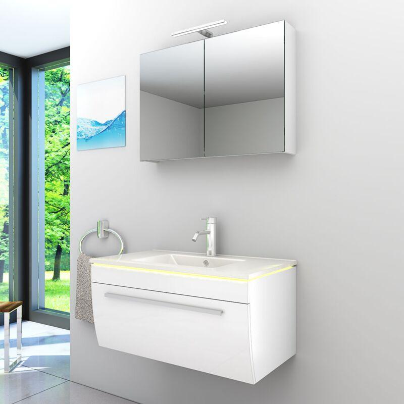 Badmöbel Set Gently 3 V1 Weiß Badezimmermöbel Badspiegel Waschtisch 80 cm -20521- mit 1x 5W LED Strahler - TRENDBAD24 GMBH & CO. KG