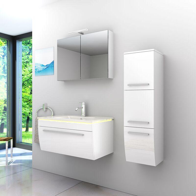 Badmöbel Set Gently 3 V2-R Weiß Badezimmermöbel Badspiegel Waschtisch 80 cm -20524- ohne Spiegelschrankbeleuchtung - TRENDBAD24 GMBH & CO. KG