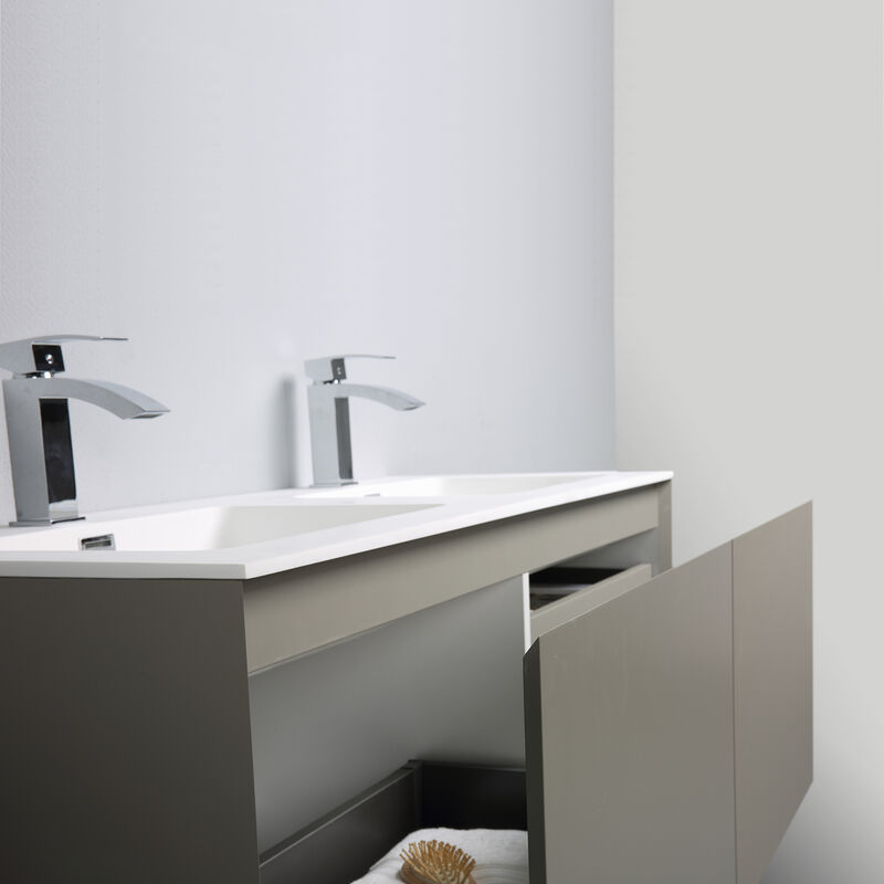 Favorit Badmöbel-Set Luna 1200 Grau matt - Spiegel optional Ohne Spiegel TR09