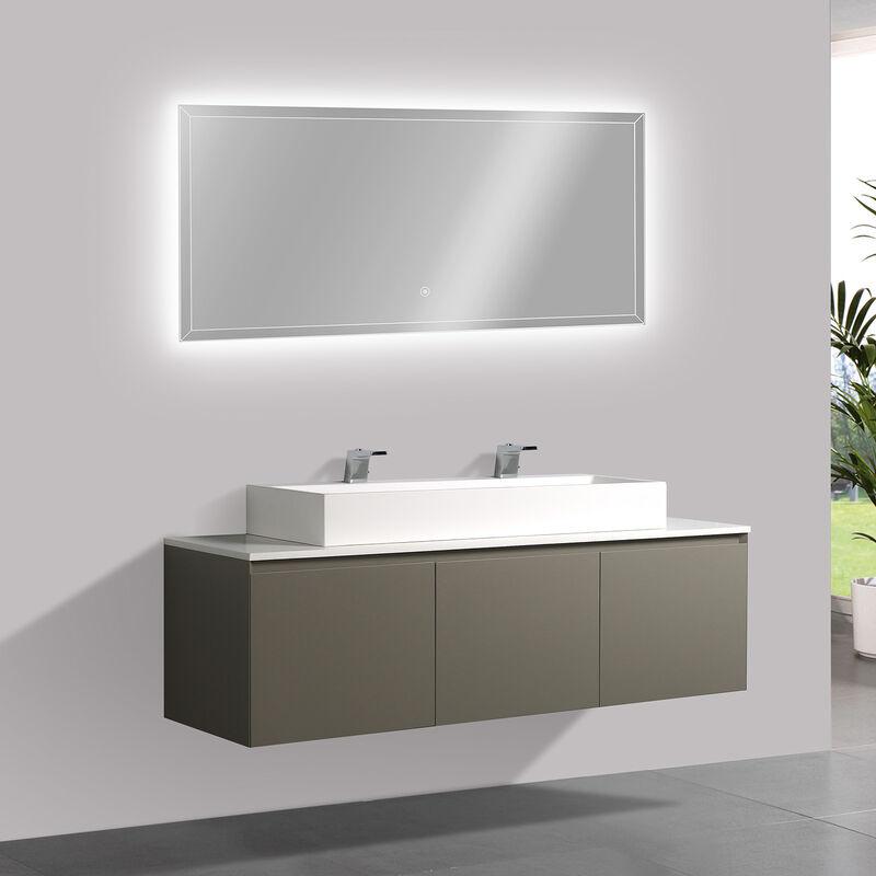 Gut gemocht Badmöbel-Set Luna 1600 Grau matt mit Mineralguss Waschtischplatte QA48