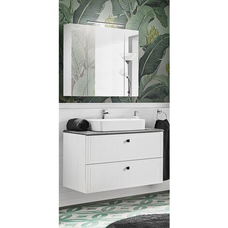Badmöbel Set mit 100cm Waschtisch & LED-Spiegelschrank CHALET-56 matt weiß mit Betonoptik, B/H/T ca. 160/200/47 cm
