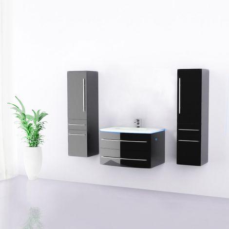 Badmöbel Set Waschbecken Badezimmer LED Schwarz Hochglänzend 70 cm