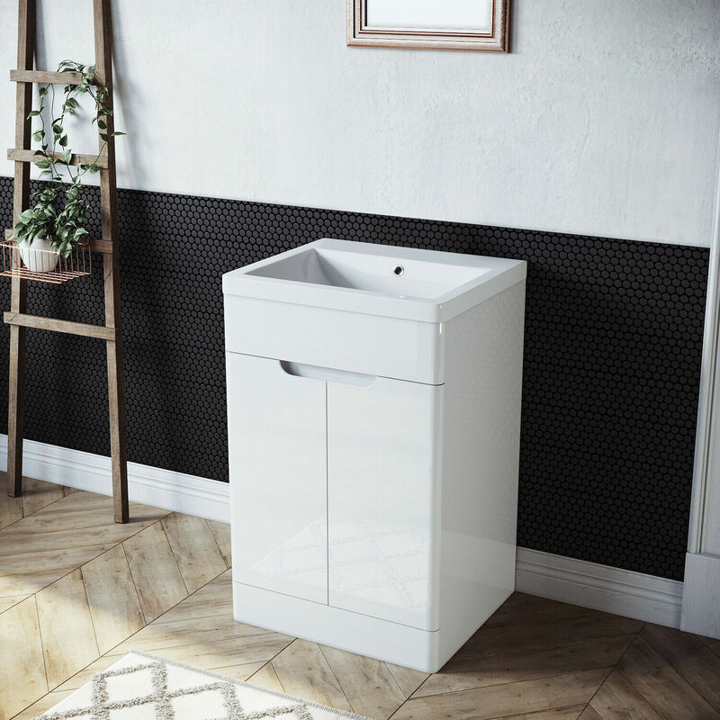 Badmöbel Set Waschbecken mit Unterschrank 2 in 1 Weiß Set Hochglanz gäste wc - SONNI