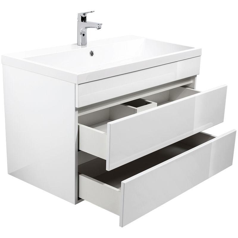 Badmöbel 'Soho' 70 & 90cm Grifflos mit Waschtisch und Unterschrank in Weiß Hochglanz:90 cm - WUNDERBAD