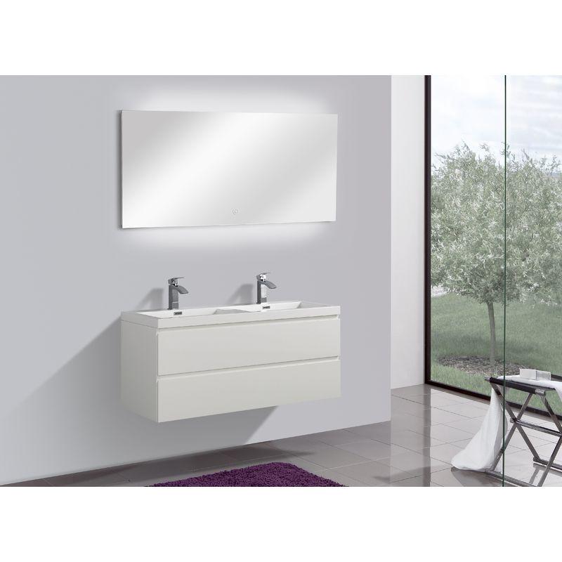 Badmöbel Unterschrank Flat 120 inkl. Doppelwaschtisch (hochglanz-weiß) - IMPEX-BAD