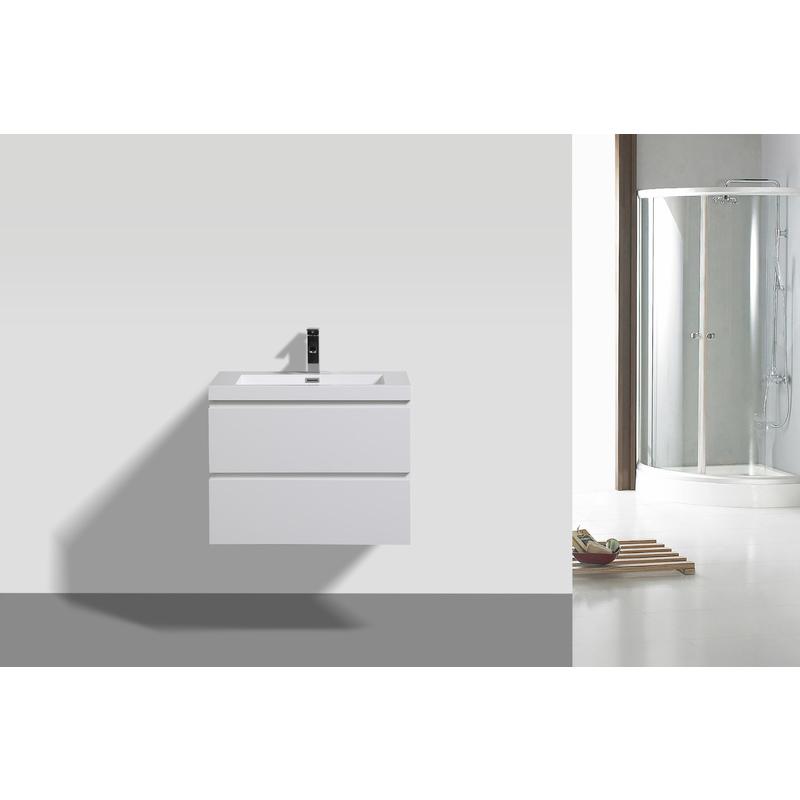 Badmöbel Unterschrank inkl. Waschtisch FLAT 60 (hochglanz-weiß) - IMPEX-BAD
