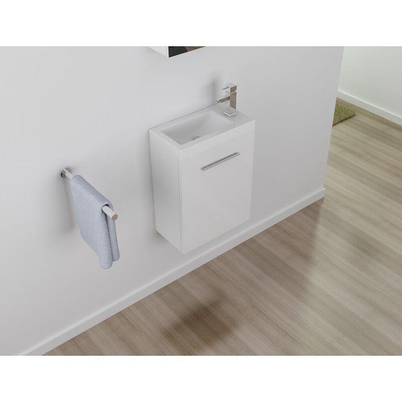 Badmöbel Unterschrank PATRO 50 (hochglanz-weiß) inkl. Waschtisch - Weiß