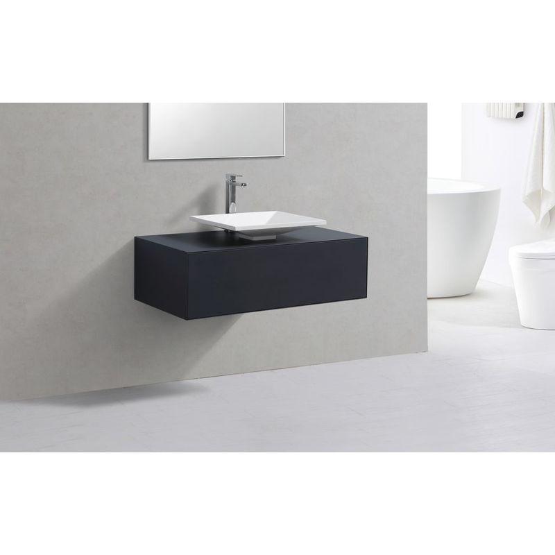 Badmöbel Unterschrank STELLAR 100 in grau inkl. Waschtisch - IMPEX-BAD