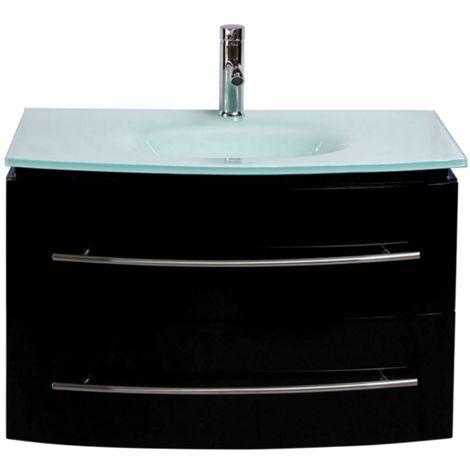 Badmöbel Unterschrank Waschbecken Touch LED Schwarz Hochglanz 70 cm