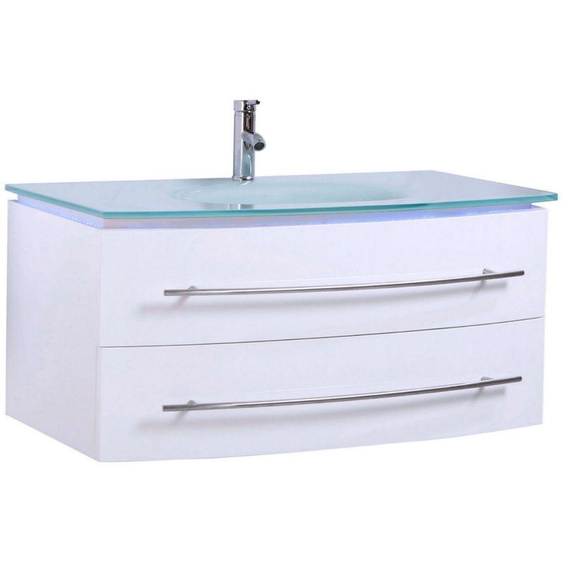 Badmöbel Unterschrank Waschbecken Touch LED Weiß Hochglanz 120 cm - MIDORI