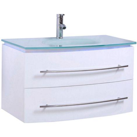 Badmöbel Unterschrank Waschbecken Touch LED Weiß Hochglanz 70 cm