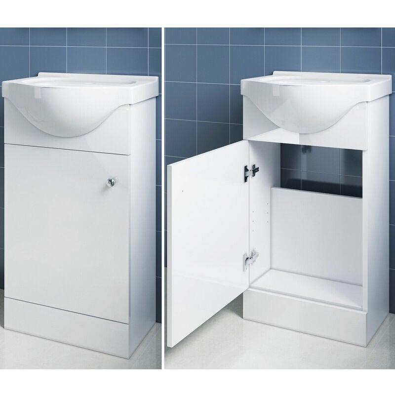 Badmöbel WaschbeckenUnterschrank Weiß Bodenstehend Waschtischunterschrank 455mm - SONNI