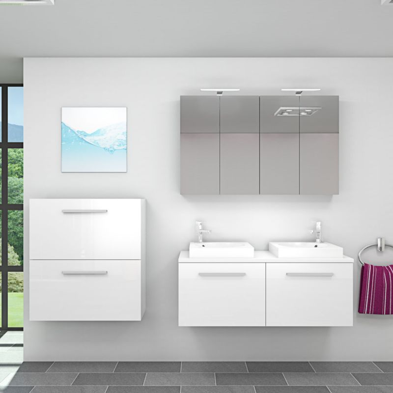 Badmöbel Set City 200 V6 Hochglanz weiß, Badezimmermöbel, Waschtisch 120 cm  17555  ohne ...