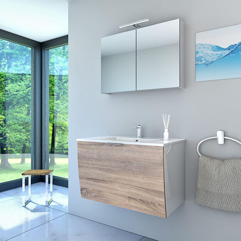 Badmöbel Set Gently 1 V1 Weiß/Eiche Badzimmermöbel Waschtisch Badspiegel 80 cm  15285  ohne ...