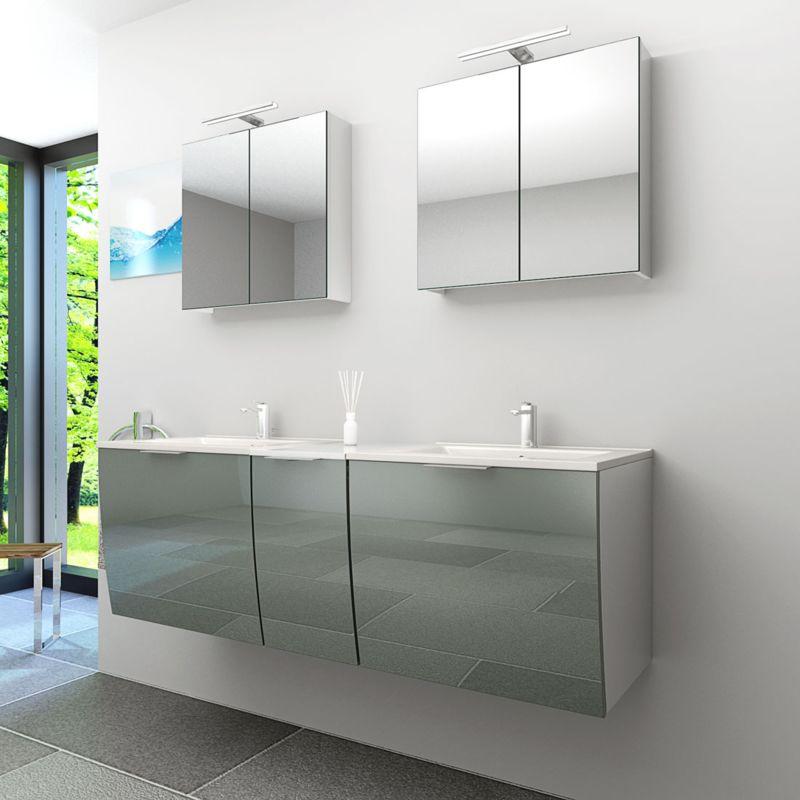 Badmöbel Set Gently 1 V1 Weiß/Grau Badzimmermöbel Waschtisch Badspiegel 150 cm  20321  ohne ...