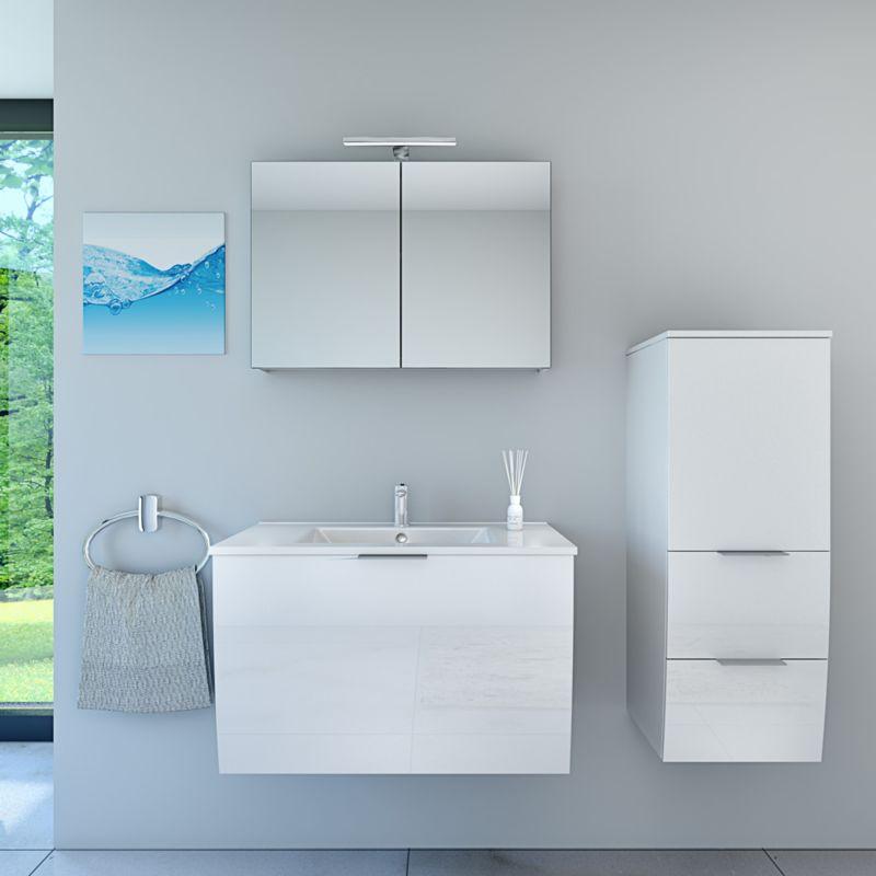Badmöbel Set Gently 1 V2 Weiß Badzimmermöbel Waschtisch Badspiegel 80 cm  15329  ohne ...