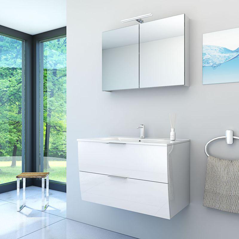 Badmöbel Set Gently 2 V1 Weiß Badzimmermöbel Waschtisch Badspiegel 80 cm  15290  mit 1x 5W LED ...