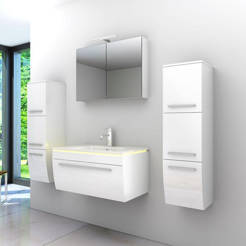 Badmöbel Set Gently 3 V3 Weiß Badezimmermöbel Badspiegel Waschtisch 80 cm  20532  ohne ...
