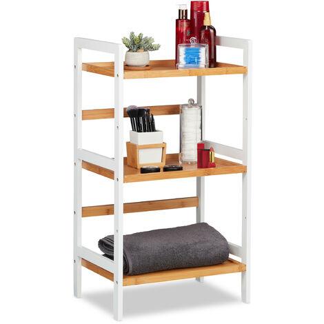 Badregal, Ablagen für Kosmetik, Handtücher & Utensilien, Bambusregal Badezimmer, HBT 80x45x31,5 cm, weiß/natur