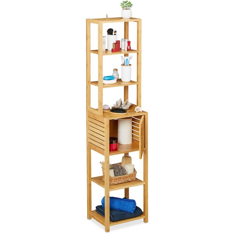 Badregal aus Bambus, 7 Böden, 1 Fach mit Tür, stehend, Bad & Küche, hohes Badmöbel, HxBxT: 149x35x29 cm, natur - RELAXDAYS