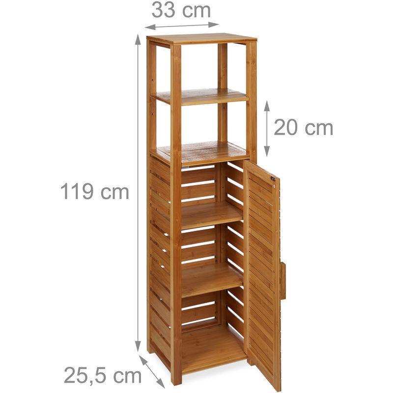 Badregal Bambus, 6 Ablagen, Badezimmer, feuchtigkeitsresistent, Badschrank  H x B x T: 119 x 33 x 25,5cm, natur
