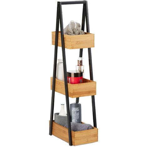 Badregal Bambus, platzsparendes Leiterregal mit 3 Ablagen, Bad, Küche, Wohnzimmer, Metall, 81x18x30 cm, natur