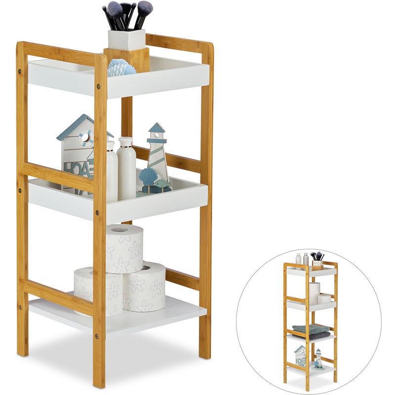 Badregal Bambus, Standregal, Küchenregal, offen, freistehend, 3 Ablagen,  HxBxT: 80 x 36 x 33 cm, natur-weiß