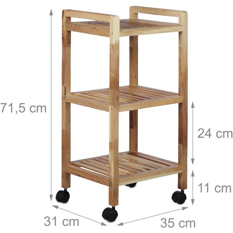 Badregal mit Rollen, Holz, HBT: 71,5 x 35 x 31 cm, Griffe, drehbar, 3  Ablagen, als Küchenregal, Holzregal, natur
