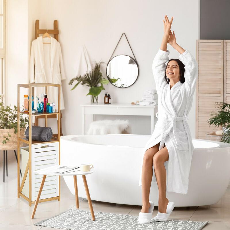Badregal mit Wäschekorb, Badezimmer Regal Bambus, Standregal schmal, 3  Fächer, HxBxT: 130 x 37 x 33 cm, natur
