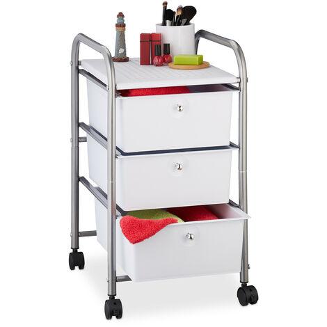 Badrollwagen, 3 Schubladen, Metall & Kunststoff, Rollcontainer Bad, Kosmetik, HxBxT: 60 x 33 x 39 cm, silber