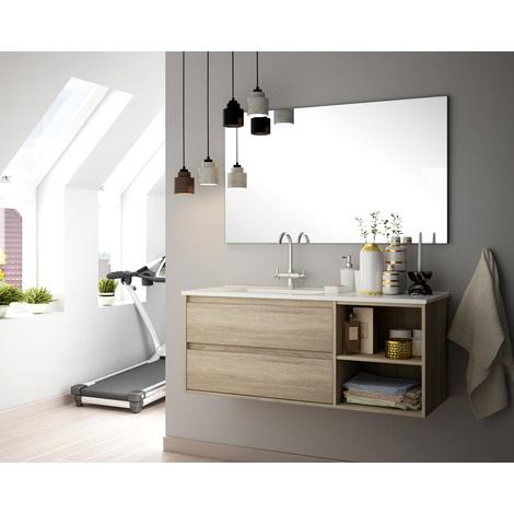 BADRUM - Conjunto Mueble 2 cajones y 1 abierto color Roble Café