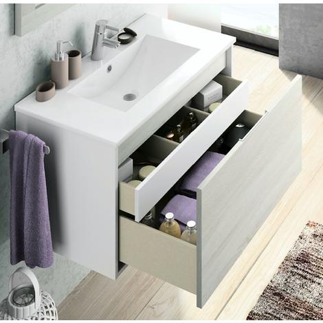BADRUM - Conjunto Mueble de Baño 1 cajón + 1 cajón interior color Roble Blanco