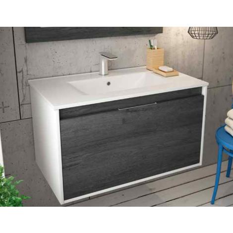 BADRUM - Conjunto Mueble de Baño 1 cajón + 1 cajón interior color Roble Negro