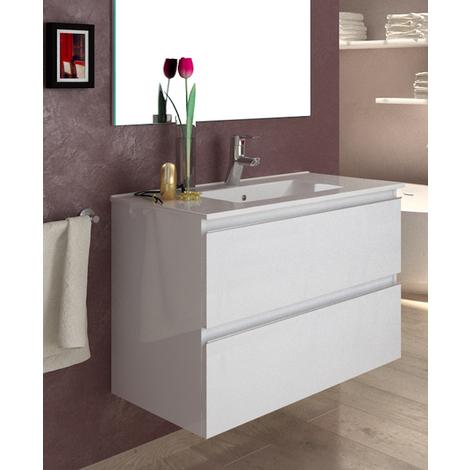 BADRUM - Conjunto Mueble de Baño 2 cajones color Blanco Lacado
